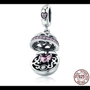 Jewelry - Sterling Silver Love Gift BoxPink CZ Charm Pendant